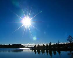 sunburst over lake